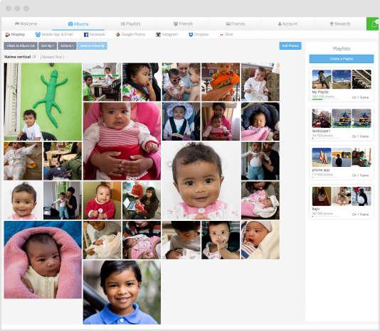 Une fois identifié sur le site Nixplay, on peut transférer des images dans un album (au centre). On peut ensuite glisser ces photos sur une liste de lecture (à droite) pour les envoyer vers le cadre numérique.