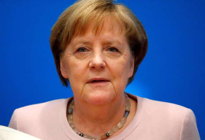 La chancelière allemande Angela Merkel lors d'un meeting de la CDU, le 2 juin à Berlin.
