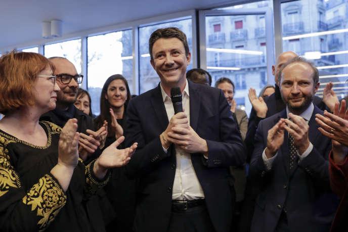 Le porte-parole du gouvernement Benjamin Griveaux lors de son annonce à la candidature à la Mairie de Paris le 28 mars.