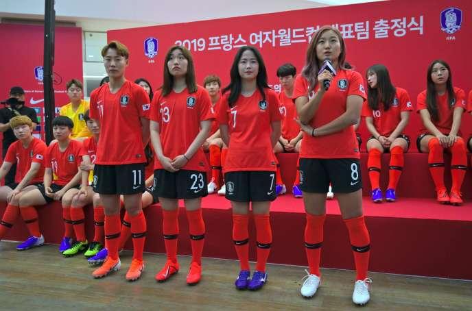 L'équipe de Corée du Sud, premier adversaire de la France dans ce Mondial. Icile 20 mai 2019.