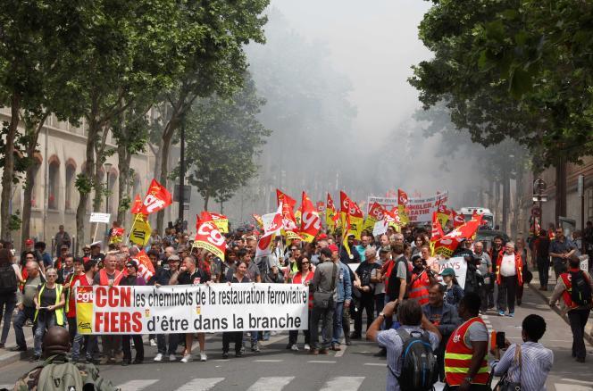 Manifestation des cheminots, le 4 juin, à Paris.