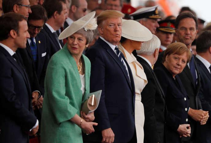 Emmanuel Macron et Donald Trump lors d'une cérémonie de commémoration du 75e anniversaire du Débarquement à Portsmouth (Royaume-Uni), le 5 juin.