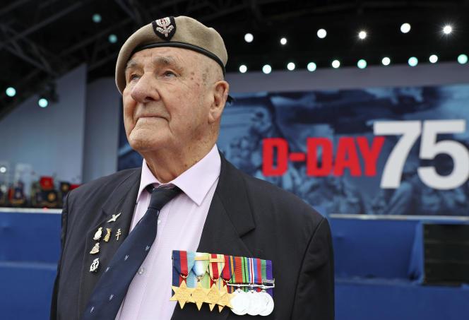 Le vétéranBertie Billet, lors de la cérémonie de commémoration du Débarquement à Portsmouth, le 5 juin.