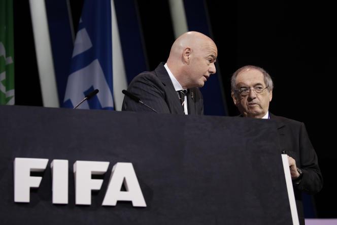 Le président de la FIFA,Gianni Infantino (à gauche), et le président de la FFF,Noël Le Graët, avant le 69e congrés de la FIFA à Paris, le 5 juin, avant le lancement de la Coupe du monde féminine.