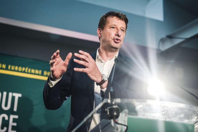 Yannick Jadot lors la soirée electorale du groupe Europe Ecologie Les Verts le 26 mai à Paris.