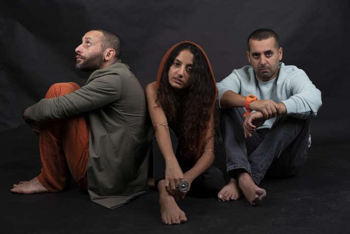 Tamer Nafar,Maysa Daw et Mahmood Jrere, à Jérusalem en 2019.