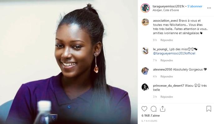 Capture d'écran du compte Instagramtaragueyemissci2019officiel.