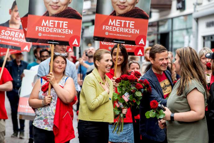 La leader du Parti social-démocrate, Mette Frederiksen, à Aalborg (Danemark), le 5 juin.