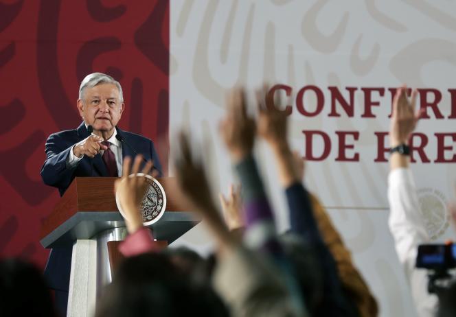 Le président Andrés Manuel Lopez Obrador, lors d'une conférence de presse le 7 juin 2019, à Mexico, peu avant la signature d'un accord migratoire avec Washington.