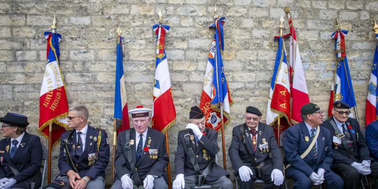 Emmanuel Macron, président de la république, participe à une cérémonie en mémoire des fusillés de la maison d'arrêt de Caen, mercredi 5 juin 2019 - 2019©Jean-Claude Coutausse pour Le Monde