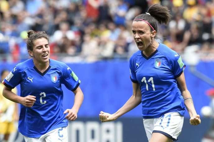 Barbara Bonansea après l'un de ses deux buts,le 9 juin à Nice.