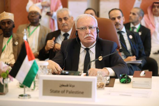 Le ministre palestinien des affaires étrangères,Riyad Al-Maliki, au sommet de Djeddah en Arabie saoudite, le 29 mai.