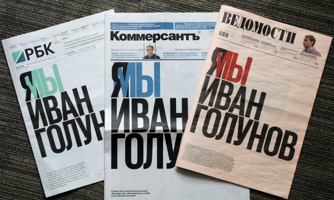 «Je suis, nous sommes Ivan Golounov», pouvait-on lire lundi 10 juin à la« une» desquotidiens russes, «RBK», «Vedomosti» et «Kommersant».