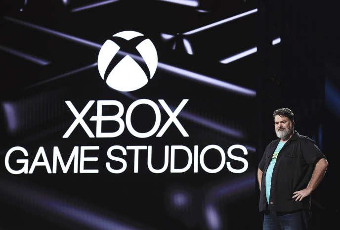 Tim Schafer lors de la conférence Microsoft de l'E32019, le 9 juin.