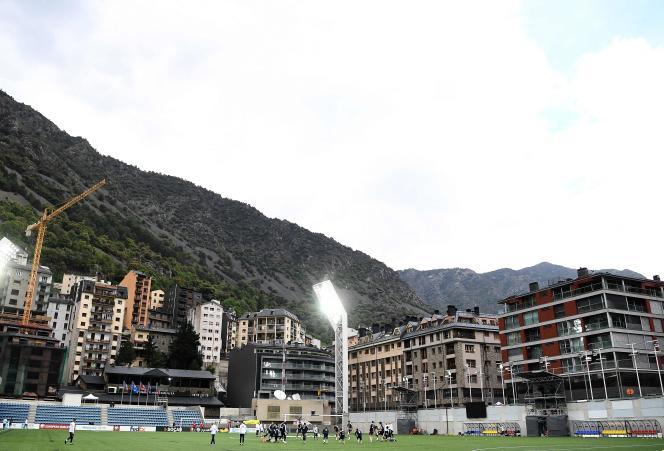 Les Bleus à l'entraînement au Stade d'Andorre-la-Vieille, lundi 10 juin.