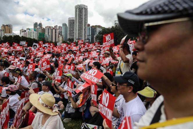 Manifestation contre le projet de loi d'extradition vers la Chine continentale, à Hongkong, le 9 juin.