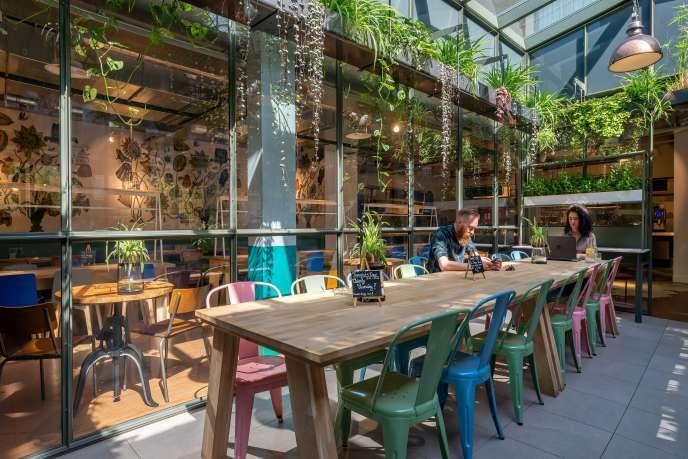 La salle à manger, très lumineuse, du Stayokay Vondelpark.