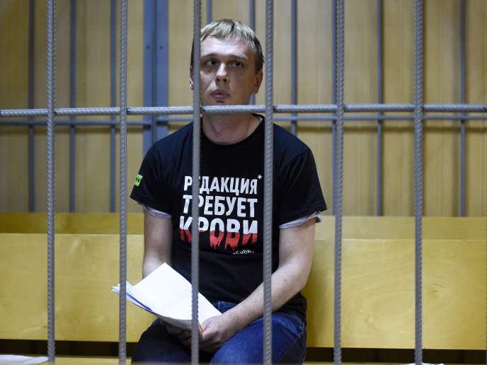 Ivan Golounov le 8 juin au tribunal de Moscou, en Russie.