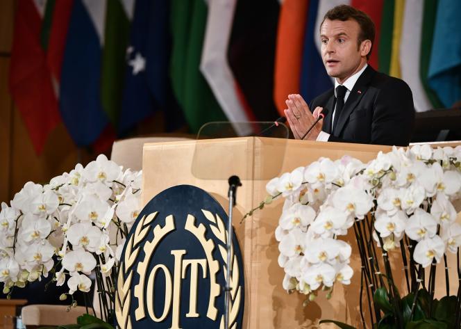Emmanuel Macron prononce un discours à la Conférence internationale du travail de l'OIT le 11 juin 2019 à Genève.