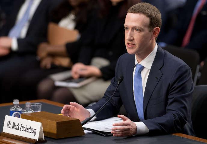 Le patron de Facebook, Mark Zuckerberg, lors de son audition devant le Sénat des Etats-Unis, le 10 avril 2018.
