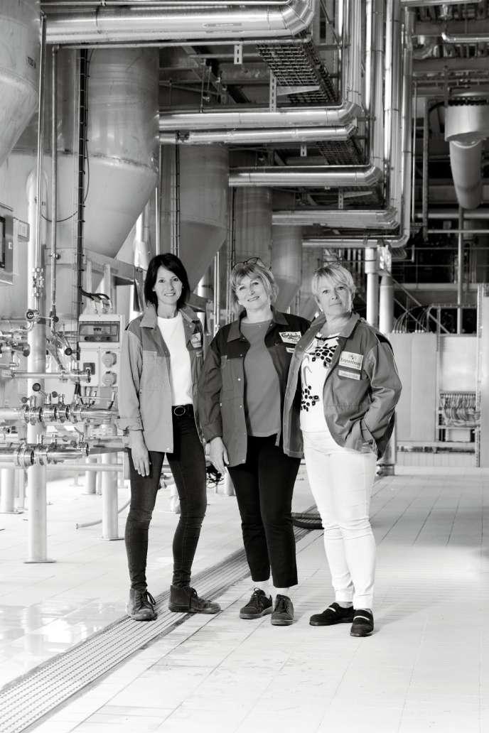 A elles trois, Céline Chauvin Schera, Sylvie Lienhart et Laurence Gutfreund (de gauche à droite) contrôlent l'intégralité du processus de fabrication. Le plus complexe ? Obtenir un produit identique à partirdu vivant.