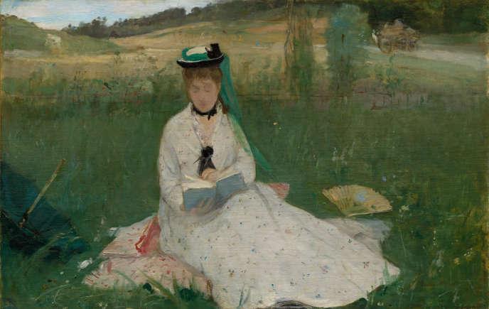 «La Lecture (L'Ombrelle verte)» (1873), de Berthe Morisot, huile sur toile.