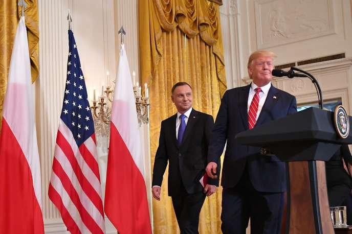 Le président des Etats-Unis, Donald Trump, aux côtés de son homologue polonais, Andrzej Duda, à la Maison Blanche, à Washington, le 12 juin.