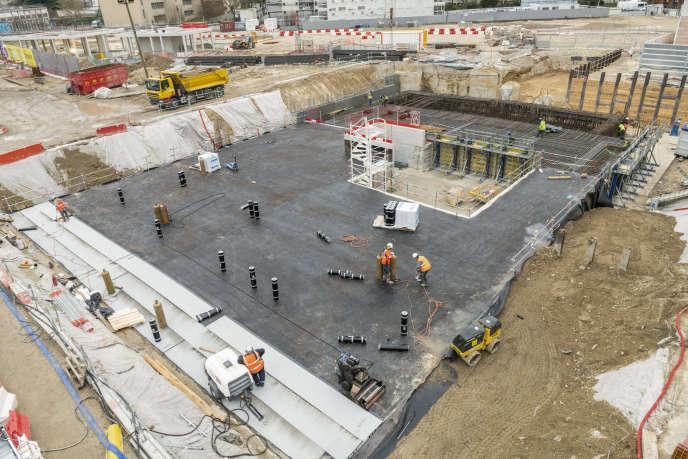 Chantier de la future gare Grand-Paris-Express de Bagneux, dans les Hauts-de-Seine, le 6 mars.Dans la construction, 16 100 emplois ont été créés au premier trimestre 2019.