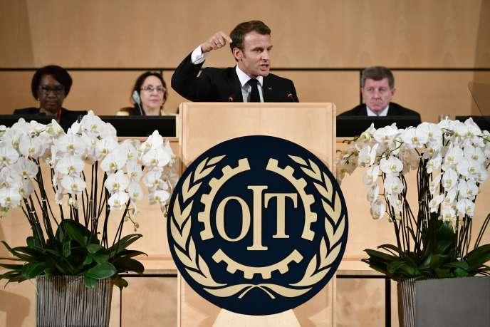 Emmanuel Macron lors de la conférence annuelle de l'Organisation internationale du travail (OIT), à Genève (Suisse), le 11 juin.
