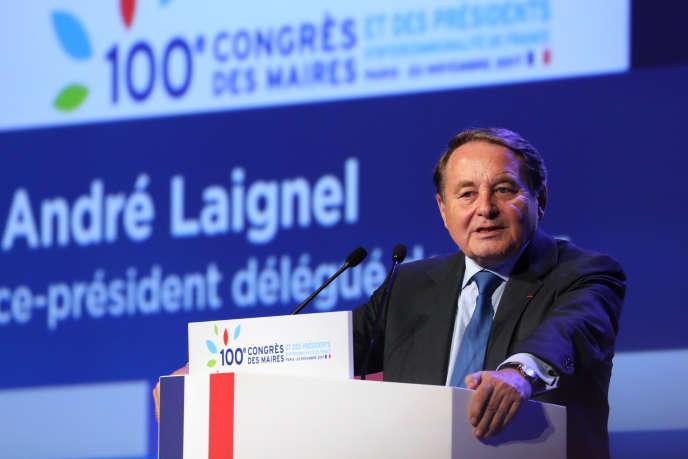 «Il existe un très grand risque que nous ne puissions pas participer à hauteur de ce que nécessite le plan de relance», a soulignéAndré Laignel, vice-président délégué de l'Association des maires de France (ici au Congrès des maires de France, en 2017, à Paris.