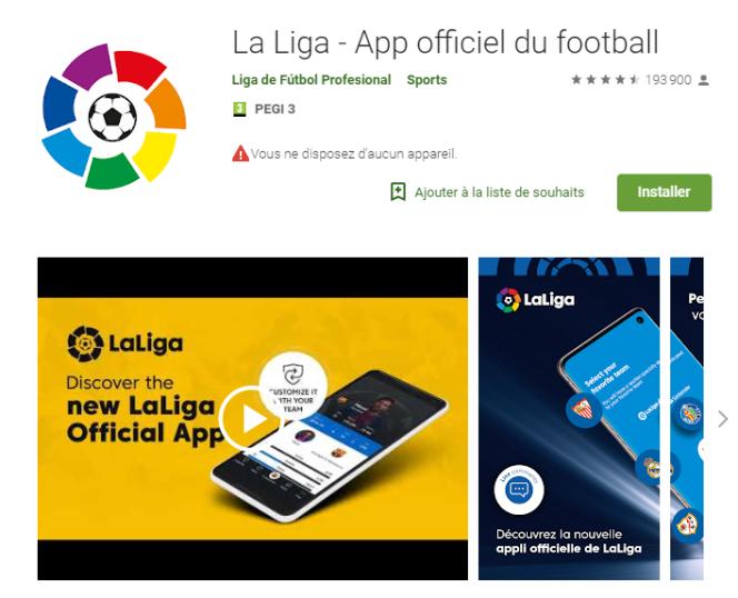 La page de téléchargement de l'application La Liga sur le site de Google Play.