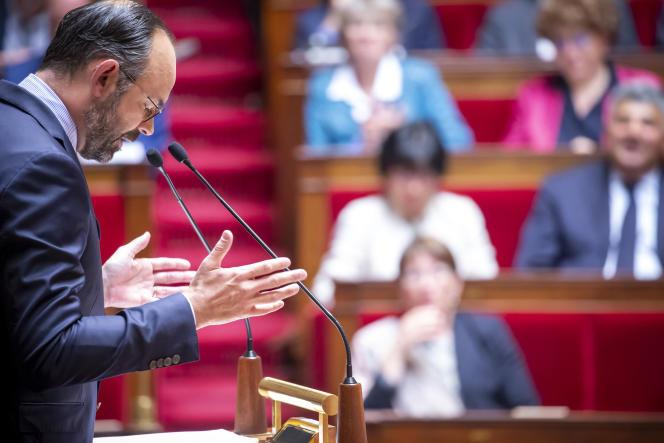 Le premier ministre Edouard Philippe lors de sa déclaration de politique générale, àl'Assemble nationale, le 12 juin.