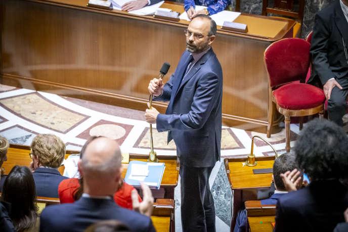 Le premier ministre, Edouard Philippe, lors de sa déclaration de politique générale à l'Assemblée nationale, à Paris, mercredi 12 juin 2019.