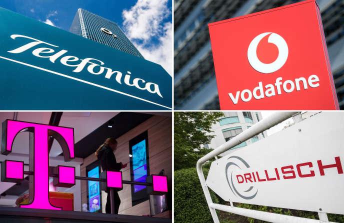 Les logos des quatre opérateurs (Telefonica, Vodafone, Deutsche Telekom et 1&1 Drillisch) qui se sont disputé les 41 blocs de spectre 5G mis en vente par le régulateur allemand.