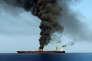 Photo provenant de la télévision d'Etat iranienne montrant le tanker norvégien pris pour cible en mer d'Oman, le 13 juin.