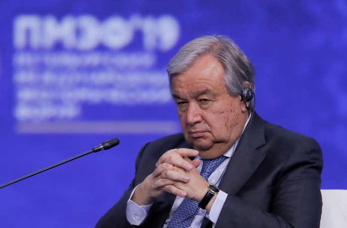 Le secrétaire général des Nations unies, Antonio Guterres, le 7 juin à Saint-Pétersbourg (Russie).