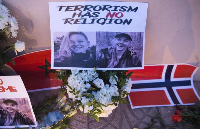 Manifestation de soutien aux familles des deux jeunes touristes scandinaves égorgées à Imlil, le 17 décembre 2018.