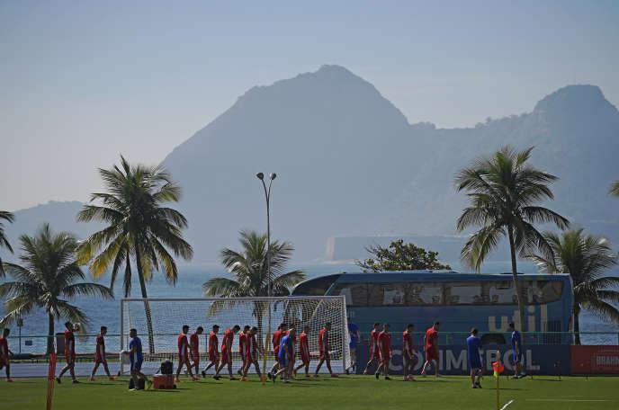 L'équipe du Paraguay s'entraîne à Rio de Janeiro, au Brésil, le 14juin 2019, avant son match de Copa America contre le Qatar, deux jours plus tard.