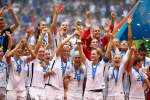 L'équipe américaine de football lors de se victoire de la coupe du monde à Vancouver (Canada), le 5 juillet 2015.