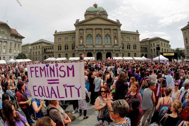 Lors de la manifestation, en Suisse, le 14 juin.