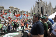 Manifestation de métallurgistes italiens en faveur d'un « Futur pour l'industrie», à Milan, le 14 juin 2019.