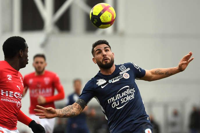 L'attaquant de Montpellier Andy Delort face à l'équipe de Nîmes, le 3 février 2019.