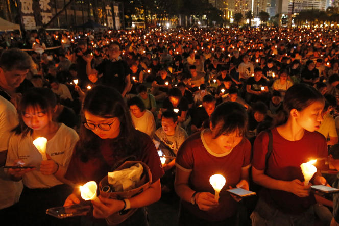 Tribute to the victims of the 1989 Tiananmen Square massacre in Hong Kong, June 4, 2019, Beijing.