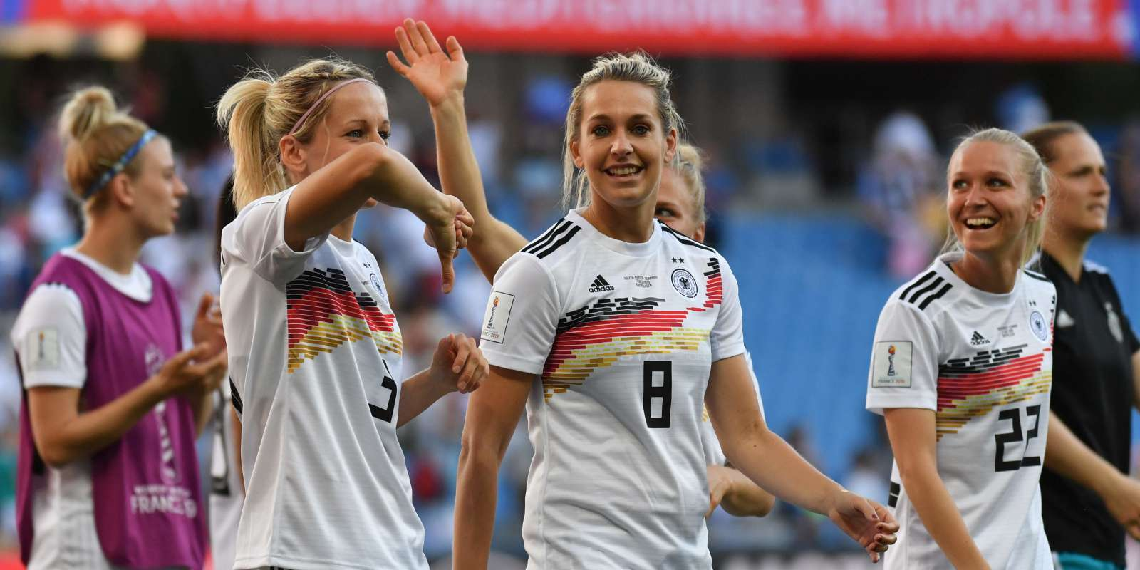 Germany's players celebrate after winning the France 2019 Women's World Cup Group B football match between South Africa and Germany, on June 17, 2019, at the Mosson Stadium in Montpellier, southern France. / AFP / Pascal GUYOT