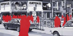 Gérard Fromanger, «Paramount cinéma», série « Boulevard des Italiens», 1971. Huile sur toile, 100 x 100 cm.
