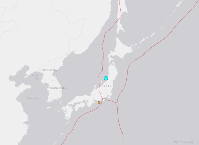Carte montrant l'épicentre du séisme de magnitude 6,8 ressenti mardi 18 juin au Japon.