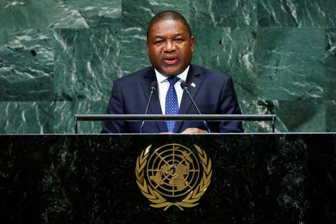 Le président du Mozambique, Filipe Jacinto Nyusi, devant l'Assemblée générale des Nations unies, à New York, en septembre 2018.