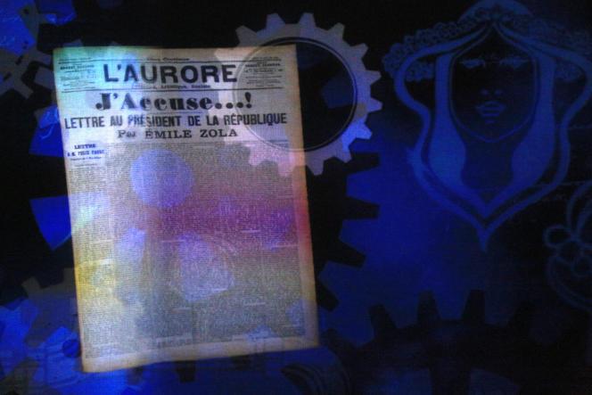 Dans « L'Aurore», la lettre d'Emile Zola au président de la République, « J'accuse», auMusée de la Grande Guerre à Meaux.