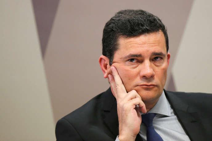 Le ministre de la justice brésilien, Sergio Moro, lors de laCommissionde la constitutionet de la justice, au Sénat, à Brazilia, le 19 juin 2019.