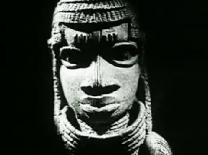 Photo de l'affiche du film documentaire de 1953 de Chris Marker et Alain Resnais, «Les statuts meurent aussi», commandé par l'éditeur Présence africaine.